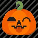 creepy, emoji, halloween, horror, pumpkin, scary, tongue icon