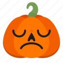 creepy, emoji, halloween, horror, pumpkin, scary, upset icon