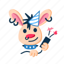 bang, character, happy, party, punk, rabbit, smile icon