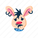 animal, biting nails, character, punk, puzzled, rabbit, sad icon