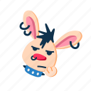 animal, bored, character, face, pet, punk, rabbit icon