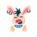 animal, clapping hands, happy, laugh, pet, punk, rabbit icon