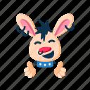 animal, clapping hands, happy, laugh, pet, punk, rabbit icon