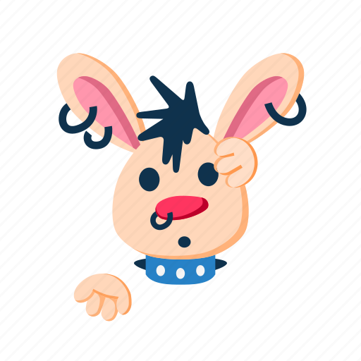 animal, character, confused, pet, punk, rabbit icon