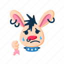 character, cry, punk, rabbit, sad, tears, upset icon
