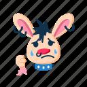 character, cry, punk, rabbit, sad, tears, upset icon