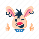 character, excellent, fingers up, happy, punk, rabbit, wink icon