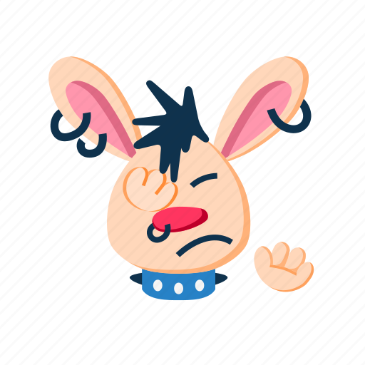 animal, facepalm, paws, pet, punk, rabbit, refuse icon