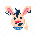animal, character, cute, finger up, pet, punk, rabbit icon