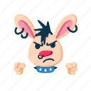 angry, animal, character, fists, pet, punk, rabbit icon