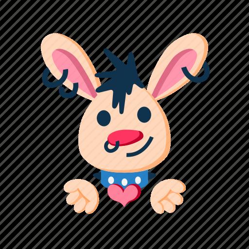 animal, cute, giving heart, love, pet, punk, rabbit icon