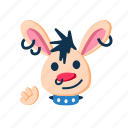character, face, greeting, hand waving, happy, punk, rabbit icon