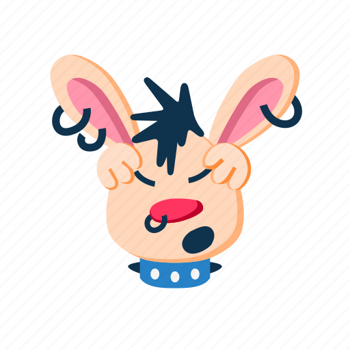 character, head, holding, paws, punk, rabbit, tired icon