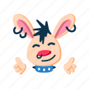 character, hands, happy, hugs, punk, rabbit, smile icon