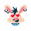 happy, hearts, in love, laugh, punk, rabbit, smile icon