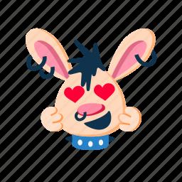 happy, hearts, in love, laugh, punk, rabbit, smile icon