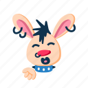 animal, character, kiss blowing, lips, pet, punk, rabbit icon