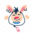 happy, listen, music, player, punk, rabbit, smile icon