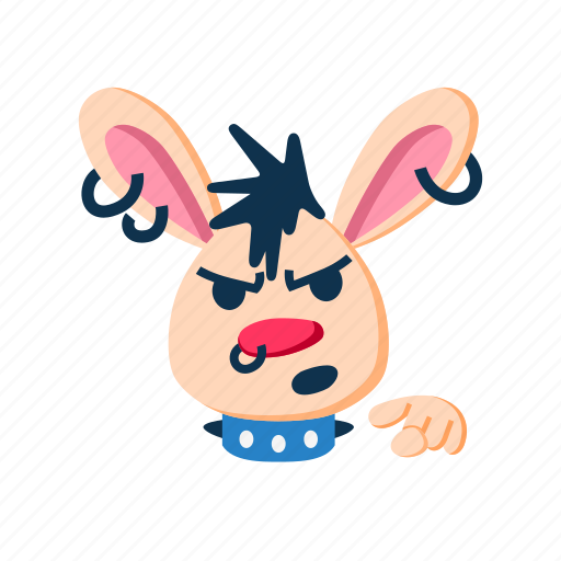 angry, animal, character, face, pet, pointing finger, rabbit icon