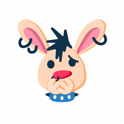 character, face, paws, punk, rabbit, scared, shocked icon