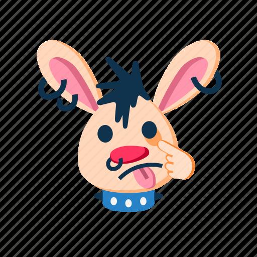 animal, face, making faces, punk, rabbit, tease, teasing icon