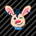 animal, character, happy, punk, rabbit, smile, wink icon
