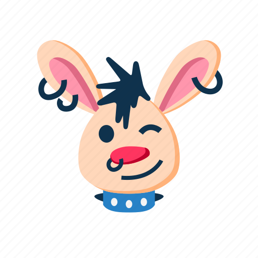 animal, character, happy, punk, rabbit, smile, wink icon