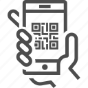 barcode, code, hand, mobile, qr, qr code, scan icon