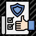 quality, assurance, files, folders, verified, checklist, thumbs