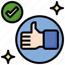 thumbs, up, good, feedback, ui, tick, mark