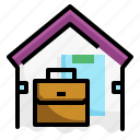 briefcase, document, home, house, quarantine, suitcase, working