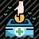 box, coin, donation, finance, money, subsidy
