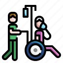 disabled, emergency, infectious, patient, treatment, wheelchair