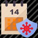 calendar, coronavirus, covid, covid-19, date, protection, quarantine icon
