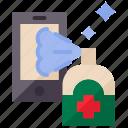 clean, cleaning, hygiene, moblie phone, quarantine, spray icon