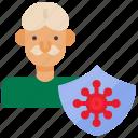 coronavirus, covid, old, old people, protection, quarantine, shield icon