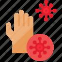 coronavirus, covid, covid-19, dirty, hand, interaction, quarantine icon