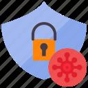 corona, covid, lock, protect, protection, quarantine, shield icon