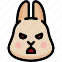 angry, emoji, emotion, expression, face, feeling, rabbit icon