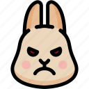 angry, emoji, emotion, expression, face, feeling, rabbit icon