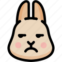 annoying, emoji, emotion, expression, face, feeling, rabbit icon