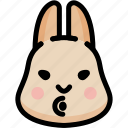 blowing, emoji, emotion, expression, face, feeling, rabbit
