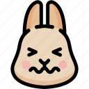 confounded, emoji, emotion, expression, face, feeling, rabbit