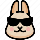 cool, emoji, emotion, expression, face, feeling, rabbit icon
