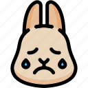 cry, emoji, emotion, expression, face, feeling, rabbit icon