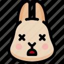 dead, emoji, emotion, expression, face, feeling, rabbit icon