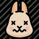dead, emoji, emotion, expression, face, feeling, rabbit