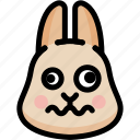 dizzy, emoji, emotion, expression, face, feeling, rabbit icon