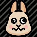 dizzy, emoji, emotion, expression, face, feeling, rabbit