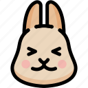 emoji, emotion, expression, face, feeling, happy, rabbit icon